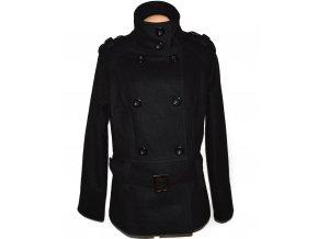 Vlněný dámský černý kabát s páskem C&A 20/46