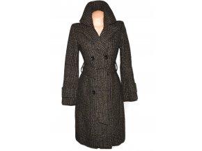 Vlněný dámský hnědočerný kabát s páskem ORSAY 38