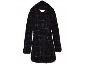 Vlněný dámský černo-fialový kabát s páskem a kapucí Lantea 36