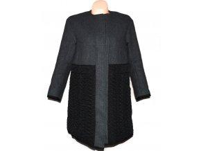 Vlněný dámský šedočerný zateplený kabát H&M 34