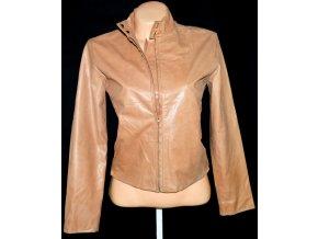 KOŽENÁ dámská hnědá měkká bunda na zip DANIER L