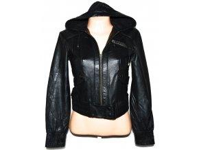 KOŽENÁ dámská černá bunda s kapucí TOPSHOP