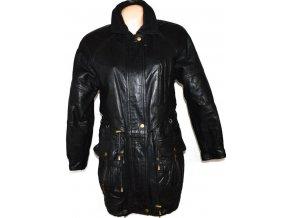 KOŽENÝ dámský černý kabát na zip, cvoky