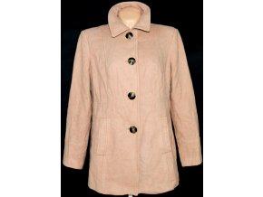 Vlněný dámský hnědý / béžový kabát