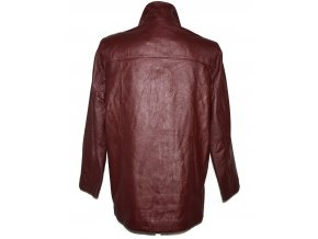 KOŽENÝ dámský vínový kabát MILAN LEATHER XXL