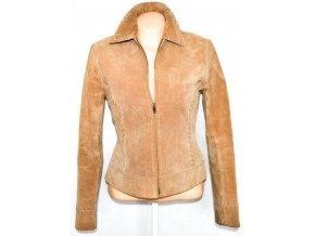 KOŽENÁ dámská broušená hnědá bunda na zip NEW LOOK L