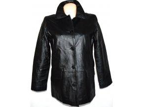 KOŽENÝ dámský zateplený černý kabát PELLE L/XL