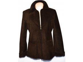 KOŽENÁ dámská broušená hnědá bunda na zip Marks&Spencer L