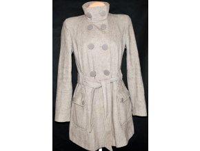Vlněný dámský hnědý kabát s páskem DOROTHY PERKINS 10/38