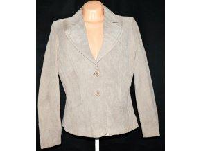 KOŽENÉ dámské broušené béžové sako 44 - XL