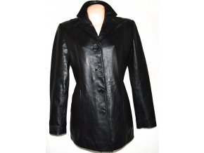 KOŽENÝ dámský měkký černý kabát BARNEYS L/XL