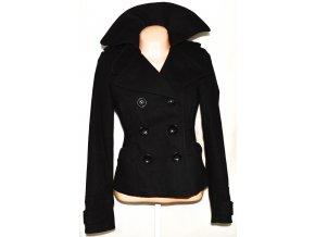 Vlněný dámský černý kabát M