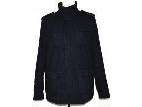 Vlněný pánský tmavě modrý kabát na zip EASY M