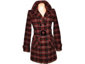 Vlněný dámský červený kabát s páskem 38, 42