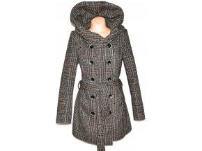Vlněný dámský hnědý kabát s límcem/ kapucí, páskem Fresh made M, L