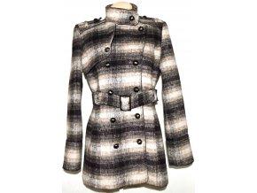 Vlněný dámský hnědobéžový kabát s páskem Miss Sixty L