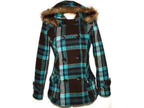 Dámský tyrkysovo-hnědý kabát s kapucí JUST PLAY M