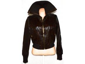 KOŽENÁ dámská hnědá bunda na zip NEW LOOK S, M, L