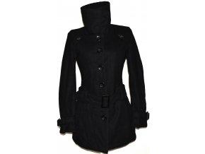 Vlněný dámský černý kabát s páskem Kenvelo L