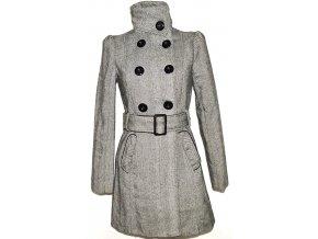 Dámský šedobílý melírovaný kabát s páskem GATE S, M