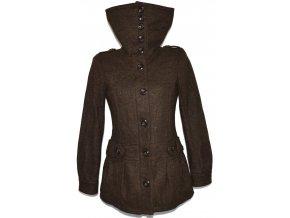 Vlněný dámský hnědý kabát na zip H&M S, M