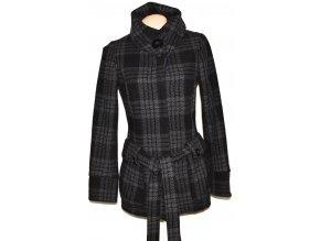 Dámský šedočerný kabát s páskem NEW LOOK S/M