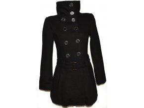 Vlněný (80%) dámský černý kabát s páskem M