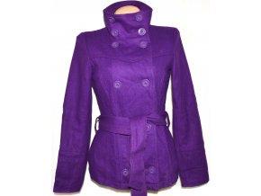 Vlněný dámský fialový kabát s páskem VERO MODA M