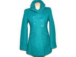 Vlněný dámský smaragdově zelený kabát DEBENHAMS 10/38