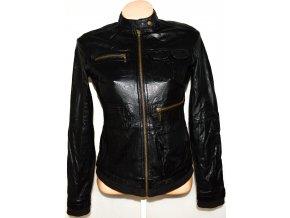 KOŽENÁ dámská černá měkká bunda na zip PROMOD S
