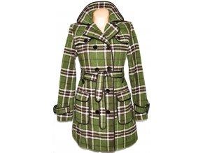 Dámský zelený zateplený károvaný kabát s páskem ORSAY S