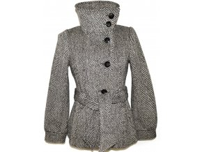 Vlněný dámský černobílý kabát s páskem H&M XS/S, M