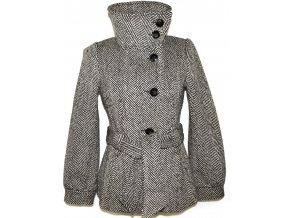 Vlněný dámský černobílý kabát s páskem H&M XS/S