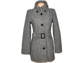 Vlněný dámský šedo-černo-bílý kabát s páskem AMISU 40