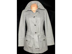 Vlněný dámský šedý kabát s páskem PROMOD vel. S