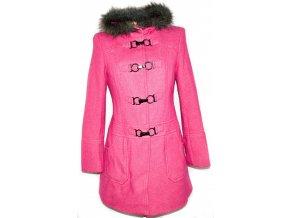 Vlněný dámský svítivě růžový kabát na cvoky, přezky s kapucí M