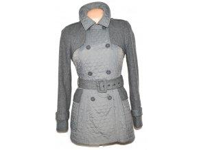 Dámský šedý prošívaný kabát s páskem Warehouse S