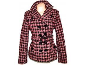 Vlněný (80%) dámský kabát s páskem - kohoutí stopa M, L