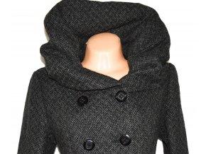 Dámský šedočerný zateplený kabát s límcem, páskem Coexis