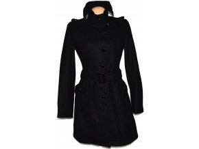 Vlněný dámský černý kabát s páskem AMISU 42