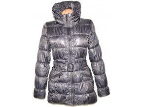 Dámský šusťákový stříbrný / šedý kabát s páskem AMISU 38