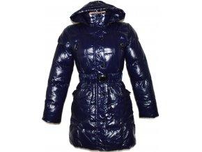 Dámský modrý šusťákový kabát s páskem, kapucí JUST PLAY S