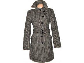 Vlněný dámský hnědočerný kabát s páskem AMISU 34, 40, 42