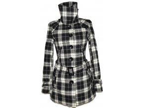Dámský šedočerný zateplený károvaný kabát s páskem KENVELO M