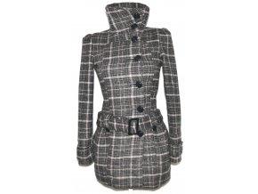 Vlněný dámský šedý kabát s páskem FISHBONE XS