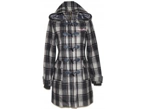 Vlněný dámský šedočerný kabát na zip, vidlice s kapucí HENLEYS M