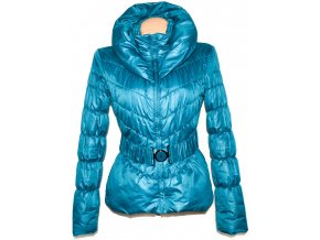 Dámský tyrkysový kabát s páskem, límcem ORSAY M