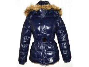 Dámský šusťákový modrý kabát s páskem, kapucí GATE S