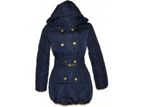 Dámský šusťákový modrý kabát s páskem kapucí Scott Fox S
