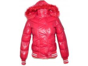 Dámská šusťáková růžová bunda na zip s kapucí GATE S, M
